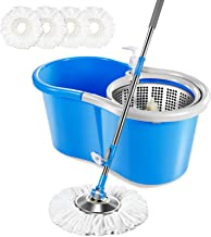 Masthome 5L Spin Mop Bucket System with 3 Microfiber Mop Heads Stainless Steel Rolling Mop Set for Bathroom,Kitchen,Living...