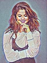 Selena Gomez Drawing Print Poster Hand Drawn Coloured Pencil #GOMEZ4