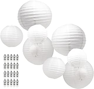 Mudra Crafts Paper Lanterns with Led Lights, Chinese Japanese Decorative Round Hanging Lamps (White Mixed Size 10 Packs)
