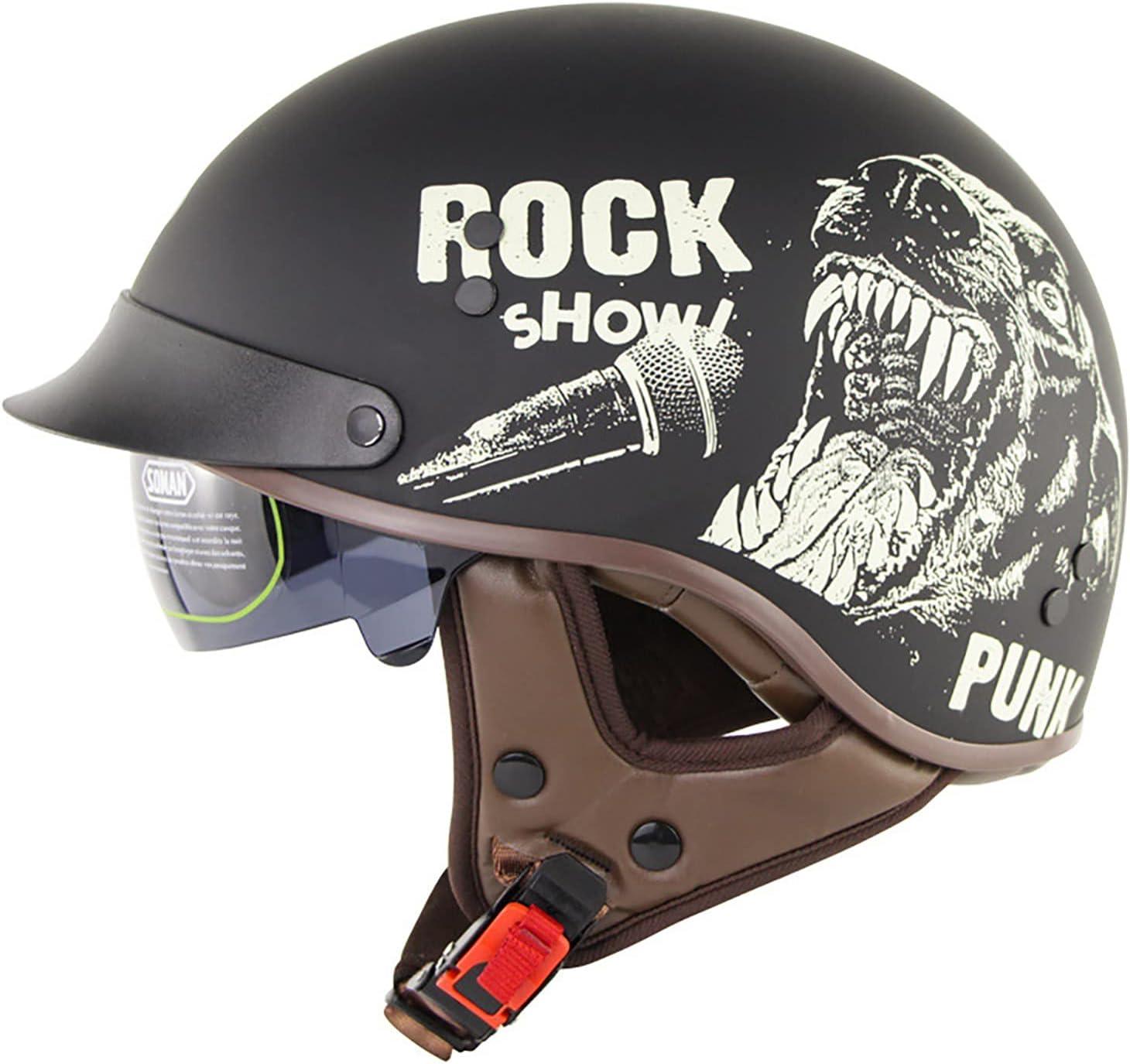 shopping Retro Motorcycle Half Shell Open Milwaukee Mall Face Sun with Visor Helmet- Qui