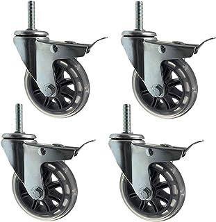 75 mm zware trolley zwenkwielen, set van 4 dragende 200 kg, meubelvervangende zwenkwiel met zwenkwiel, M8x30mm, M10x30mm, ...