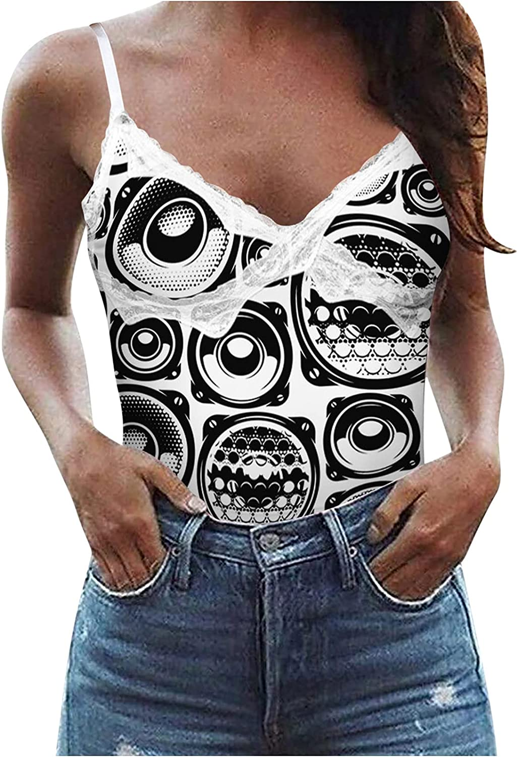 Womens Summer Sexy Workout Tops Fashion Sling Casual V-Neck Sleeveless Tunic Tees Lace Bottoming Soft Slim Vest Blouses
