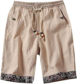 119e2aedd3 Alangbudu Cotton Linen Swimsuit Slim Fit Swim Trunks Elastic Waist  Drawstring Pocket Board Short Athletic Durable