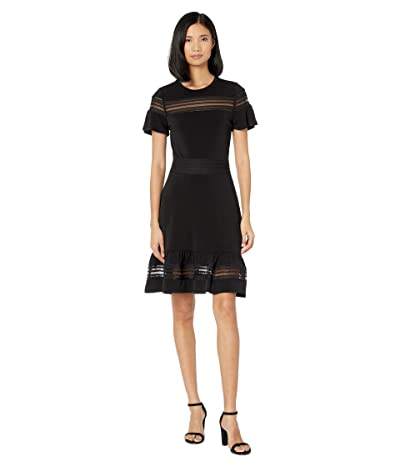 MICHAEL Michael Kors Mesh Mix Short Sleeve Dress (Black) Women