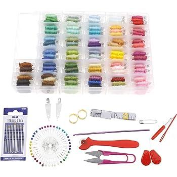 Create Idea Kit de 16 Hilos de Bordado con Caja de Almacenamiento organizadora, Incluye 100 Hilos de Bordar de Colores para Bordar 66 Punto de Cruz: Amazon.es: Hogar