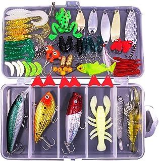 مجموعه کیت های ماهیگیری 77 قطعه ای برای باس ، ماهی قزل آلا ، ماهی قزل آلا ، شامل طعمه های قاشق ، کرم های پلاستیکی نرم ، CrankBait ، Jigs ، Topwater Lures (با جعبه حلقه آزاد) -با Saimanqiu