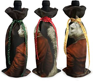 Ancharpin 3pcs Wine Bottle Cover Hermitage Court Chamber Herald Cat Decoration Cover Bags For Christmas Party Dinner Decoration Gift