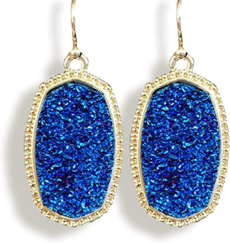 Earrings for Women Fashion Druzy Water Ddrop earrings Drop Earrings for Women Hypoallergenic Fashion Personality Simple Spark Jet Oval Drop Earrings