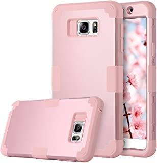 Galaxy Note 5 Case, BENTOBEN Samsung Galaxy Note 5 Case 3-in-1 Hybrid Shockproof Anti Scratch Hard Covers Soft Silicone Bumper Rugged Drop Protection, Rose Gold