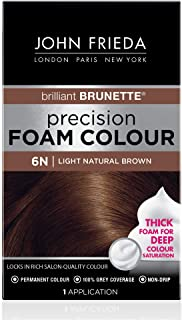 John Frieda Precision Foam Color, Light Natural Brown 6N, Full-coverage Hair Color Kit, with Thick Foam for Deep Color Sat...