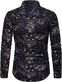 WZHZJ Chemises d'affaires d'impression de loisirs pour hommes Chemise à manches longues ajustée pour hommes Chemises décon...
