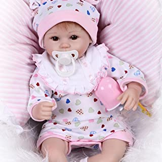 Docooler Reborn Baby Doll Girl Baby Silicone Body Eyes Open with Clothes 16inch 40cm Lifelike Cute Gifts Toy Girl Heart Romper