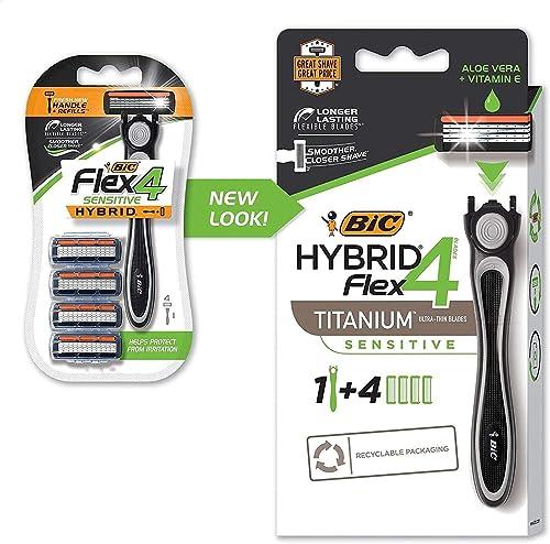 BIC Hybrid Flex 4 Men's Razors Kit - Pack of 1 Handle and 4 Cartridges