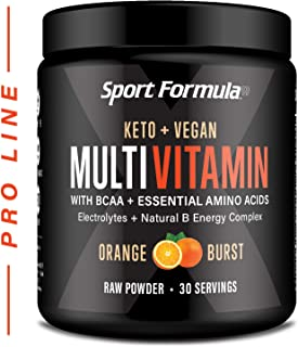 Vegan Superfood Daily Keto MultiVitamin for Men and Women Won't Upset Your Stomach: BCAA BCCA Amino Acid. Orange Drink Mix Powdered Digestive Enzymes Vitamin B Energy Complex Natural Flavoring