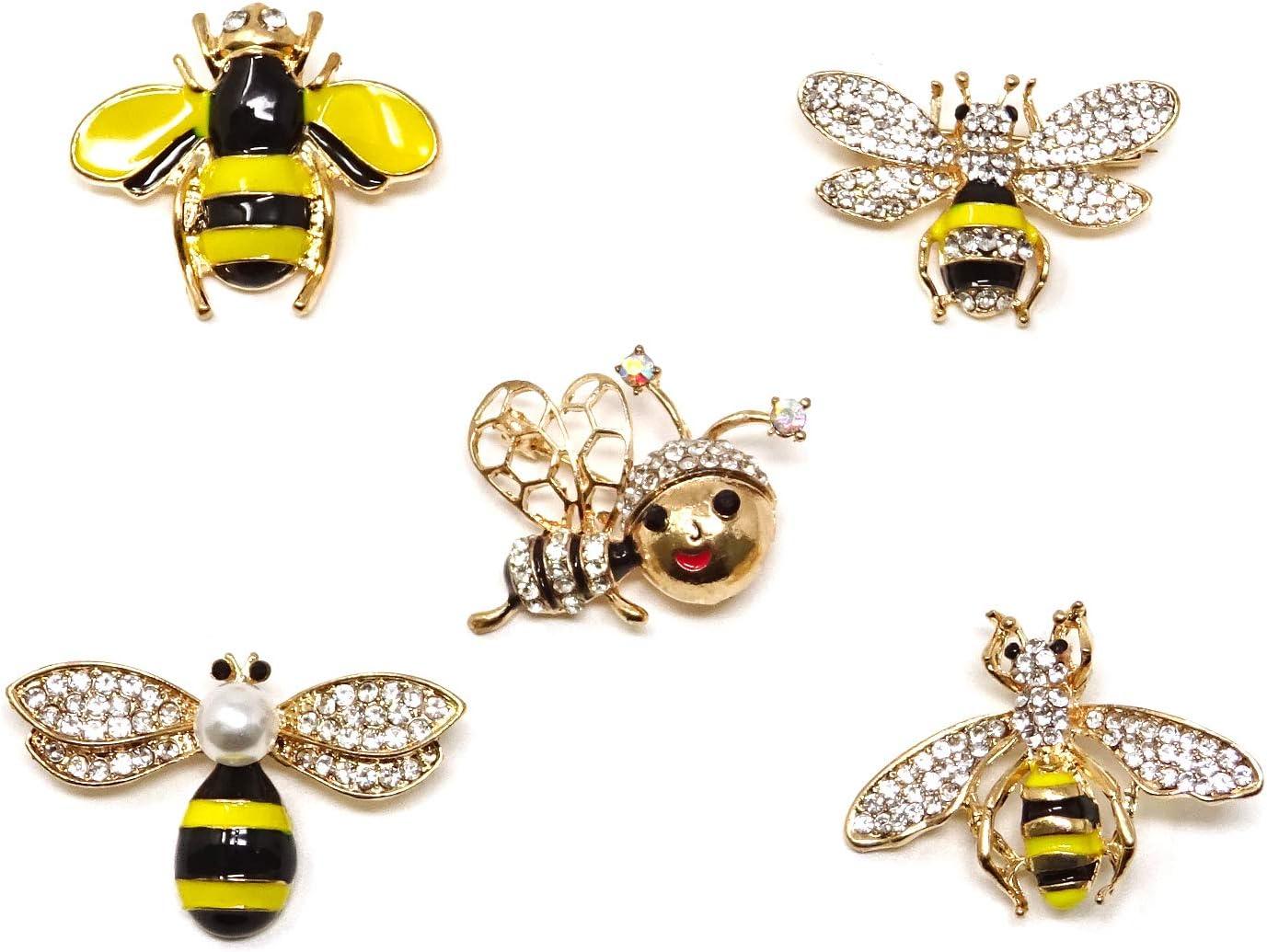 Honbay 5PCS Fashion Cute Gold Tone Enamel Honey Bee Brooch with Rhinestones for Collar, Dress, Sweater, Scarf, Shawl Decoration