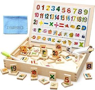 【HappyHome】学習玩具 知育玩具 数字とアルファベット ホワイトボード 黒板 お絵かき 木製おもちゃ クリーニングクロス付き