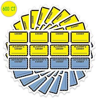 Exhibit Stickers 1X1.65 inch Plaintiff's Yellow Defendant's Blue Legal Exhibit Labels 600 pcs