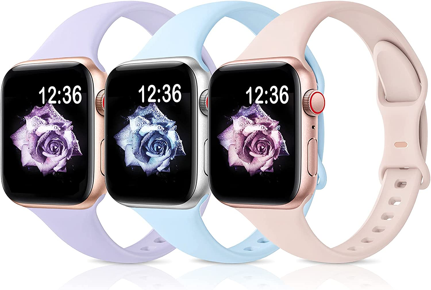 Sport Band Compatible with Apple Watch Bands 38mm 40mm 42mm 44mm,Soft Silicone Narrow Slim Thin Small Strap Wristbands for Iwatch Series 6 5 4 3 2 1 SE, Women Men,G