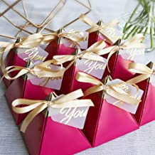 100pcs Rose Red Triangular Pyramid Sweet Candy Box Wedding Favors Paper Gift Boxes Chocolate Bags Gift Packing Box Wedding Decoration with Card and Ribbon (L)
