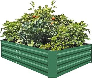 FOYUEE Metal Raised Garden Beds for Vegetables Large Planter Box Steel Gardening Kit Outdoor Herb, Green, 6x3x1ft