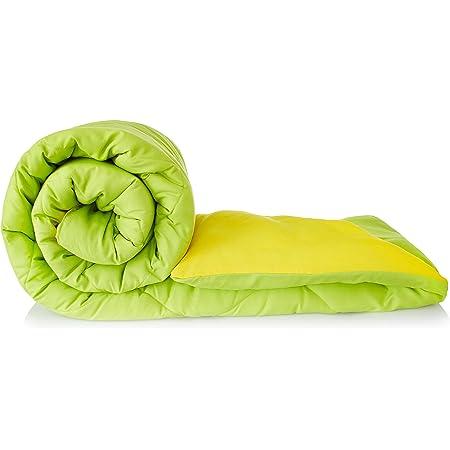 Amazon Brand - Solimo Microfiber Reversible Comforter, Single (Olive Green & Cheery Yellow, 200 GSM)