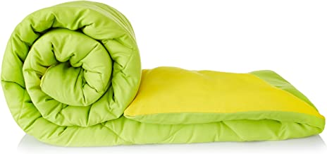 Amazon Brand - Solimo Microfibre Reversible Comforter, Single (Olive Green & Cheery Yellow, 200 GSM)