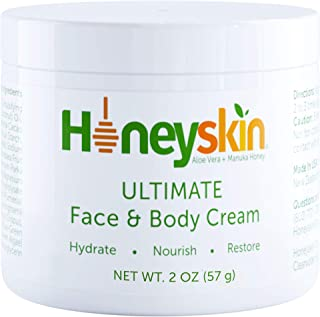 Face and Body Cream Moisturizer - Nourishing Aloe Vera - Manuka Honey for Rosacea Eczema Psoriasis Rashes Itchiness Redness - Natural Organic Cracked Skin Relief - Anti Aging - Anti Wrinkle (2 oz)
