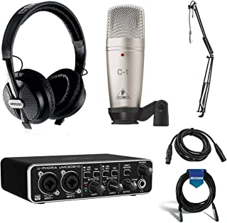 Behringer U-PHORIA STUDIO PRO Complete Recording Bundle with High Definition USB Audio Interface, Condenser Microphone and...