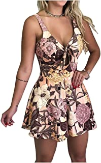 Yoyou Women Beach Summer Lace Up Print Floral Casual Short Jumpsuit Sleeveless Bodycon Sexy Party Playsuit