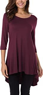 Urban CoCo Women's Solid Hi-Low Hem T-Shirt Loose Tunic Top