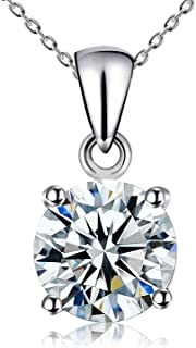 Kigmay Jewelry 925 Sterling Silver Clear Cubic Zirconia Solitaire Pendant Necklace for Women, 16