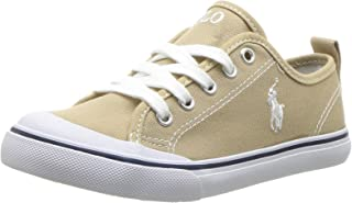 POLO RALPH LAUREN Kids Unisex Carlin Sneaker, Khaki, 1.5 Medium US Little Kid