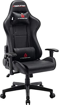 GTMONSTER Racing Style Video Gaming Chair, Reclining Ergonomic Leather Office Computer Game Chair, Swivel Gaming Chairs for Adults (Black)
