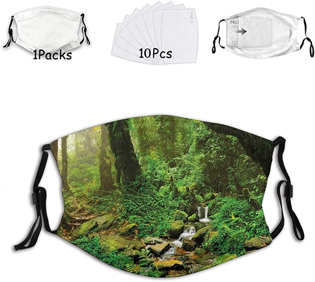 Rainforest Trees and Fresh Grass in Nepal Jungle Wildlife Reusable Face Mask Balaclava Washable Outdoor Nose Mouth Cover