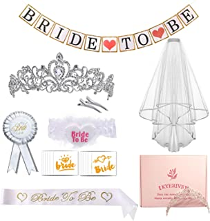 Kyerivs Bachelorette Party Decorations Bride to be Kit Bridal Shower Supplies Bride Sash, Rhinestone Tiara Crown, Tattoos, Bride Garter, Bride Banner,Rosette Badge Party Veil with Comb Bridal kit