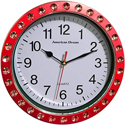 DINY Home & Style Wall Clock Quiet Sweep Second Hand Non Ticking Technology Quartz Movement Diamond Embellished Red