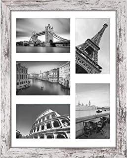 Q.Hou 11x14 Picture Frames Wood Patten Distressed Whiten One Pack Each Frame with 2 Mats,Display 8x10 or Five 4x6 Photos w...