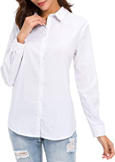 LUSMAY Women's Long Sleeve Button Down Dress Shirts Casual Work Blouses