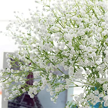 Gumolutin 9PCS Long Stem Artificial Baby Breath Flowers Fake Real Touch Gypsophila for Home Office Indoor Outdoor Wedding Dec