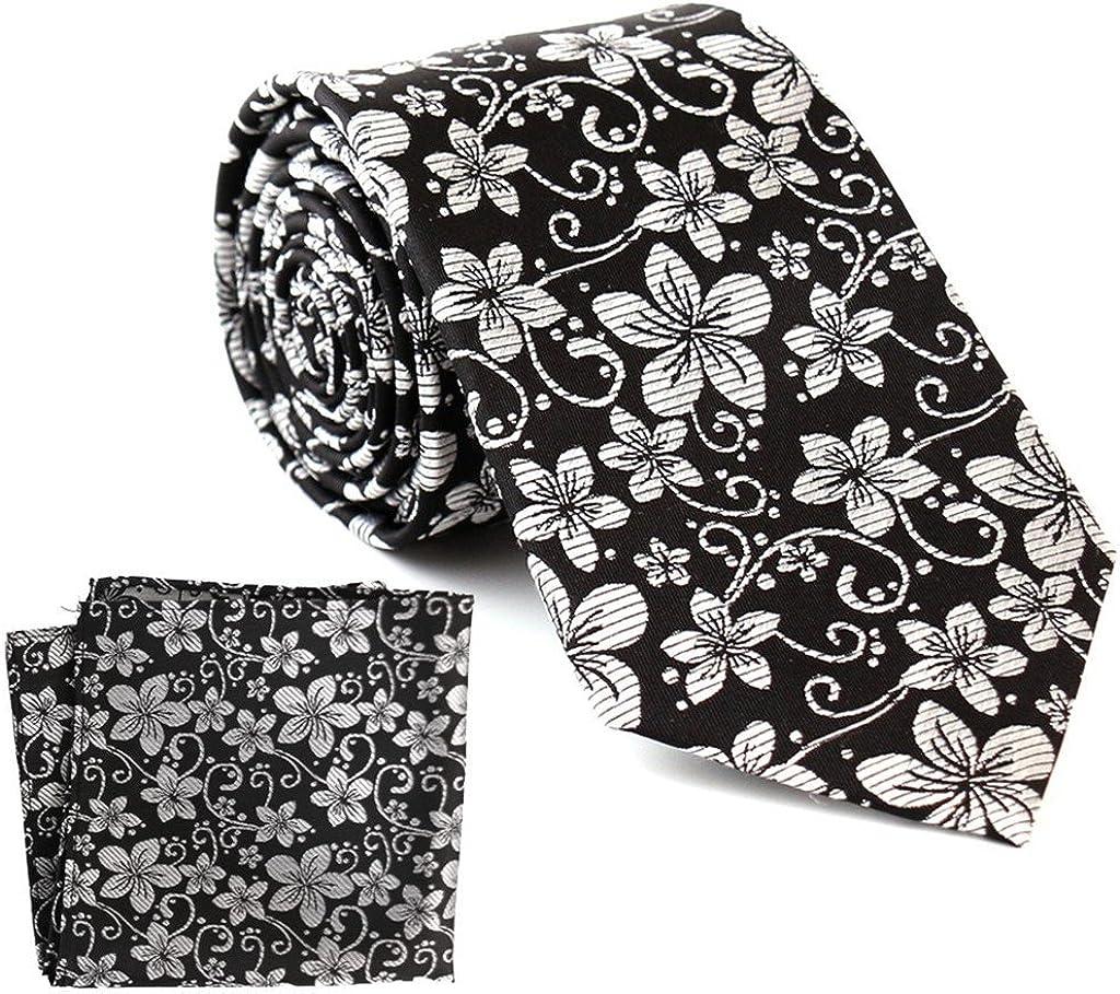 The Smart Man Men's Black and White Fancy Floral Silk Necktie Pocket Square Set