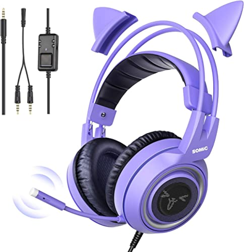 SOMIC G951S Purple Stereo Gaming Headset with Mic for PS4, Xbox One, PC, Phone, Detachable Cat Ear 3.5MM Noise Reduct...