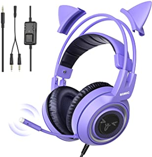 SOMIC G951S Purple Stereo Gaming Headset with Mic for PS4, Xbox One, PC, Phone, Detachable Cat Ear 3.5MM Noise Reduction H...
