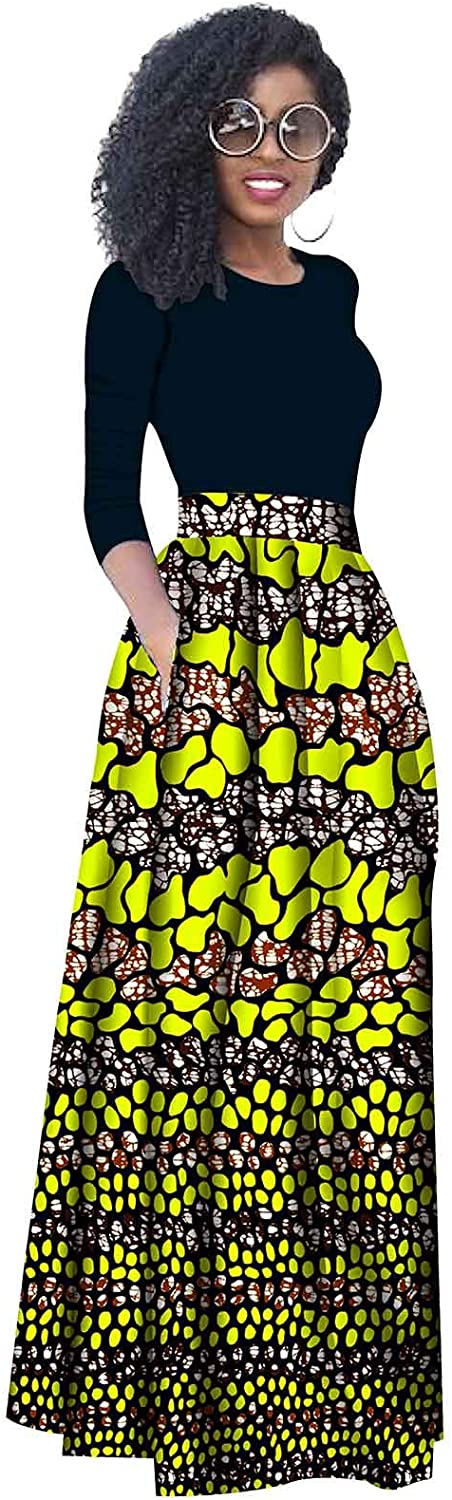 RealWax Women African Clothes Wax Ankara Print Pleated Skirt Casual Clothing Party Wear