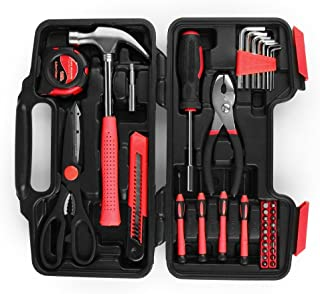 Flexzion Tool Set Box - Hand Tool Kit & Accessories For General Household DIY Home Repair with Plastic Toolbox Storage Organizer Case - Homeowner's Tool Kit (Red & Black)