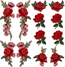 Comfun 12 Pack Red Rose Flower Patch Badge Embroidered Floral Applique Sew On Decorative Patches
