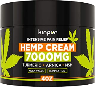 Hemp Cream for Pain Relief & Inflammation - 7000 Mg - Made in USA - Recover Arthritis, Muscle Strain, Stiff Joints, Achy Hands, Knees, Fingers - with Msm - Emu Oil - Arnica - Turmeric - 4 Oz