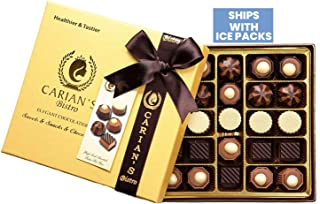 Carian's Bistro Chocolatier Gold Gift Box Valentine Luxury Selection - Assorted Dark Gourmet Chocolates- Natural and Healt...