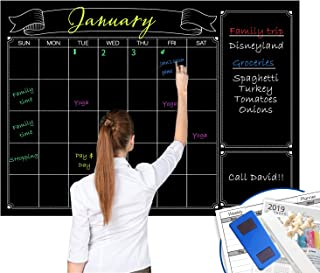 Dry Erase Black Laminated Jumbo Chalk Board Wall Calendar, 38-Inch by 50-Inch,Erasable Monthly Huge Weekly Chalkboard Bull... photo