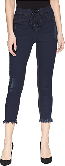 HUE High-Waist Lace-Up Shipwrecked Denim Capris