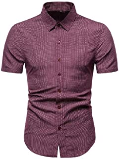 Abeaicoc Mens Polka Shirt Casual Print Dot Floral Print Short Sleeve Slim Fit Button Down Dress Work Shirt